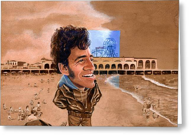 Bruce Springsteen. Greeting Cards - Springsteen on the Beach Greeting Card by Ken Meyer jr