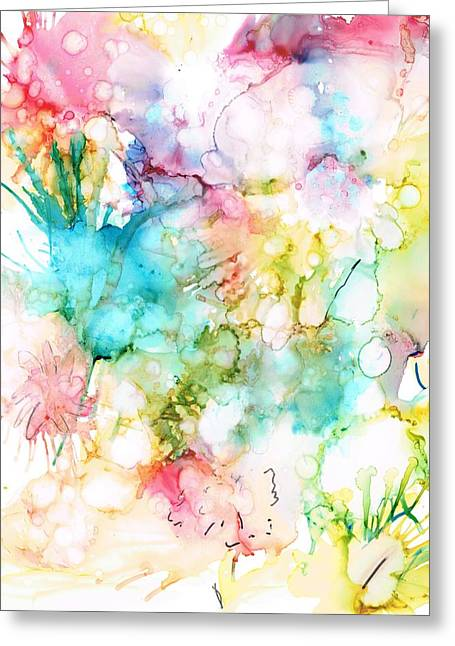 Alcohol Inks Greeting Cards - Springtime Blossoms Greeting Card by Christine Crawford