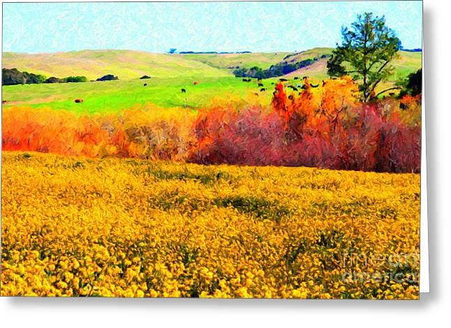 Backroads Digital Greeting Cards - Springtime In The Golden Hills . 7D12402 Greeting Card by Wingsdomain Art and Photography