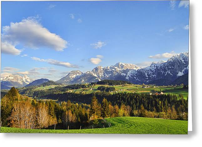 Rural Snow Scenes Greeting Cards - Springtime in the Mountains Greeting Card by Sabine Jacobs
