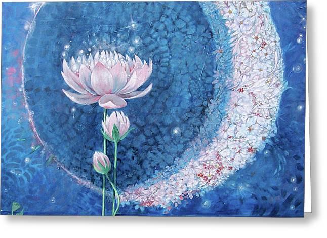 Springtime Moon Greeting Card by Silvia  Duran