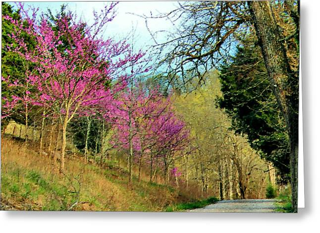 Country Lanes Digital Art Greeting Cards - Springtime on a Country Lane Greeting Card by Kristin Elmquist