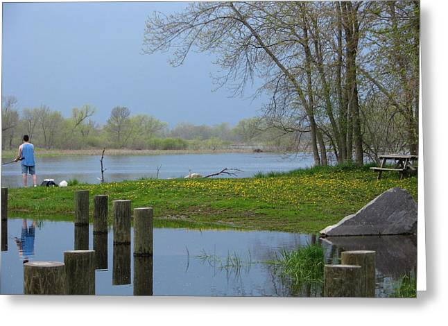 River Flooding Greeting Cards - Springtime On The Fox River Greeting Card by Victoria Sheldon