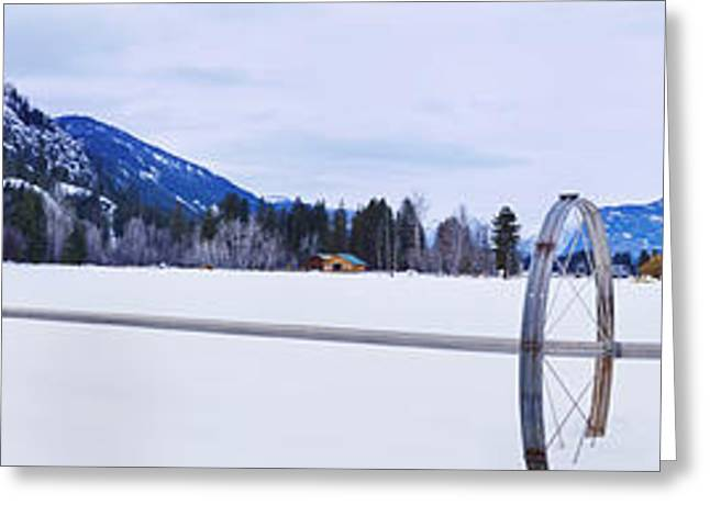Snow Scene Landscape Greeting Cards - Sprinkler System Pipes And Framework Greeting Card by Phil Borges