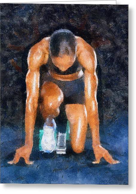 Sprinter Paintings Greeting Cards - Sprint Greeting Card by Elizabeth Coats
