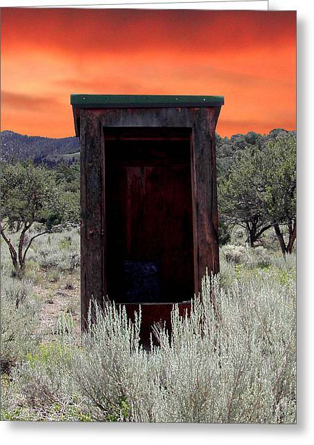 """oldest Wood Building"" Greeting Cards - Spruce Mountain Outhouse Greeting Card by Lydia Warner Miller"