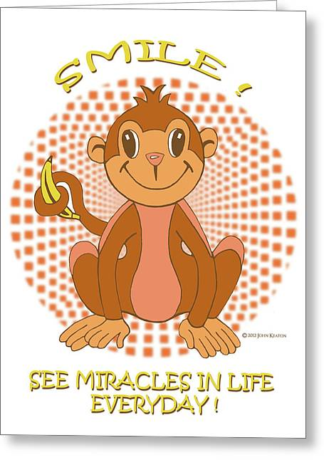 Spunky Greeting Cards - Spunky The Monkey Greeting Card by John Keaton