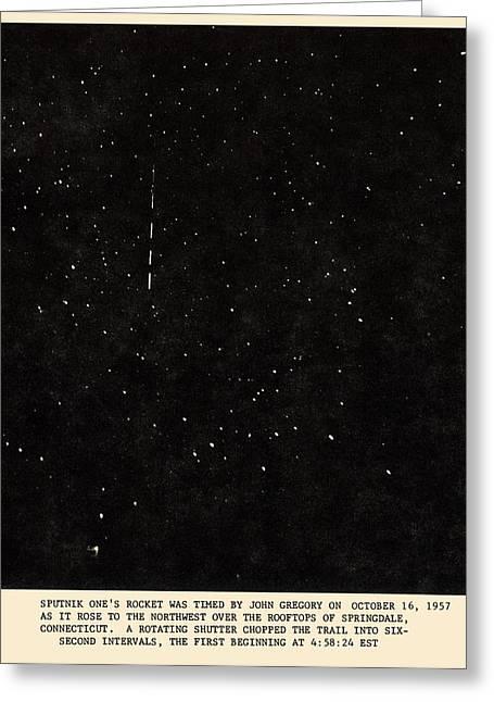 Sputnik Greeting Cards - Sputnik 1 Rocket Track Greeting Card by Detlev Van Ravenswaay
