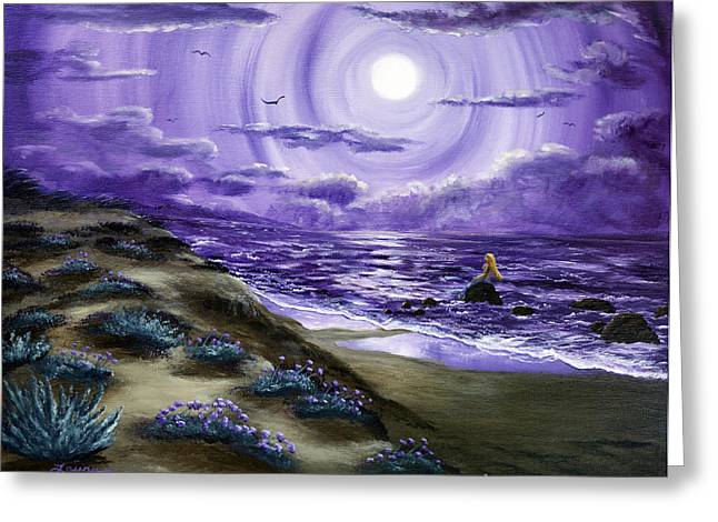 Sand Dunes Paintings Greeting Cards - Spying a Mermaid from Flowering Sand Dunes Greeting Card by Laura Iverson