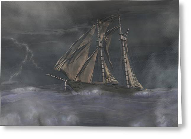 Schooner Digital Art Greeting Cards - Squall Greeting Card by Carol and Mike Werner