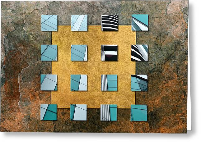 Brown Tones Mixed Media Greeting Cards - Square Ambience Greeting Card by Viaina