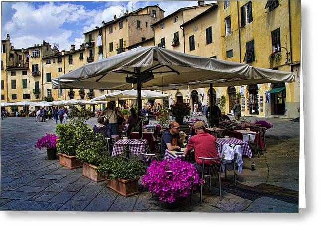 Roman Streets Greeting Cards - Square Amphitheater in Lucca Italy Greeting Card by David Smith