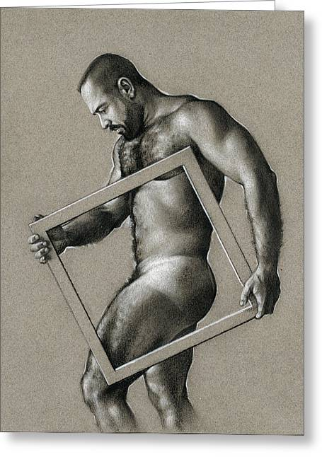 Male Drawings Greeting Cards - Square Greeting Card by Chris  Lopez