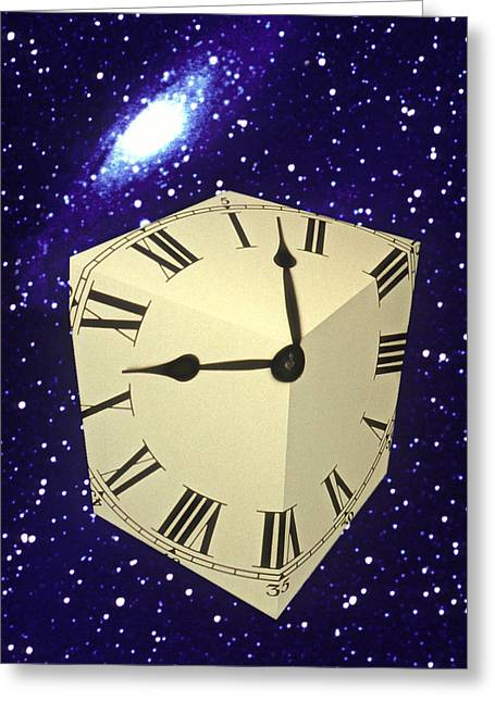 Clock Hands Greeting Card featuring the photograph Square Clock In Space by Garry Gay