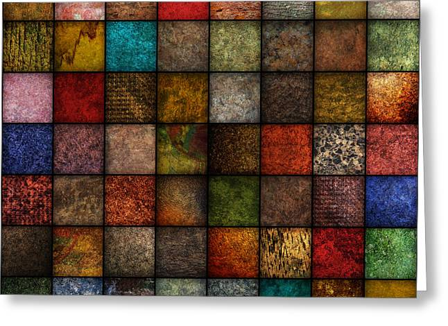 Repeatable Greeting Cards - Square Earth Tone Texture Background Greeting Card by Angela Waye