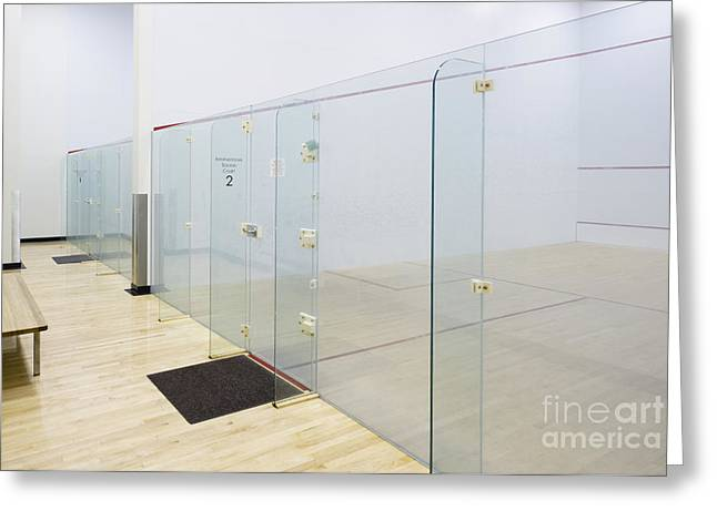 Hardwood Flooring Greeting Cards - Squash Court Greeting Card by Andersen Ross