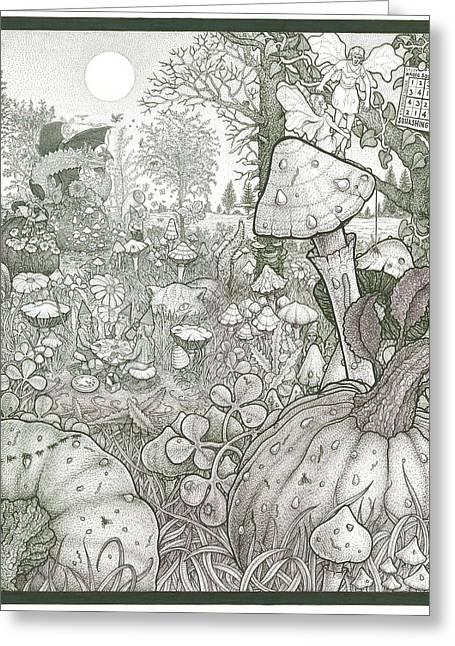 Pumpkins Drawings Greeting Cards - Squashington Square Greeting Card by Bill Perkins