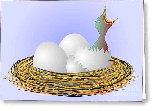 Emergence Drawings Greeting Cards - Squeaker hatching from eggs Greeting Card by Michal Boubin