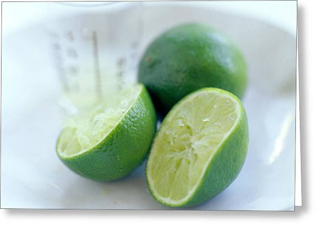 Squeezed Lime Greeting Card by David Munns