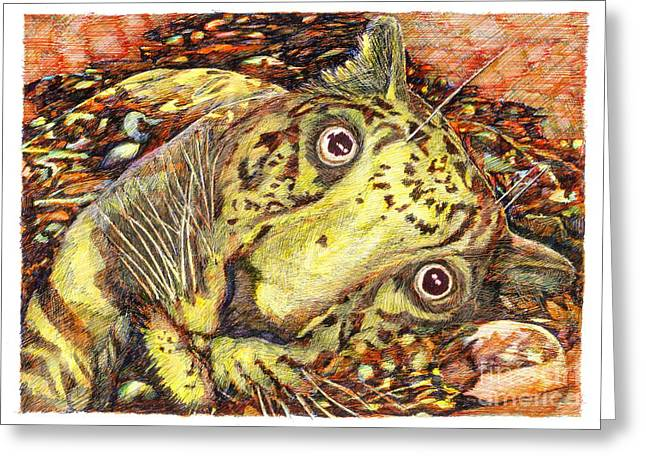 Desperate Mixed Media Greeting Cards - Squelch Greeting Card by Richard Stratford