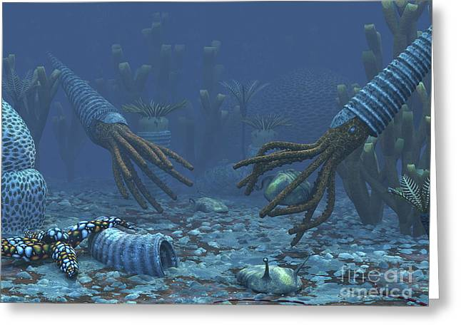 Generate Life Greeting Cards - Squid-like Orthoceratites Attempt Greeting Card by Walter Myers