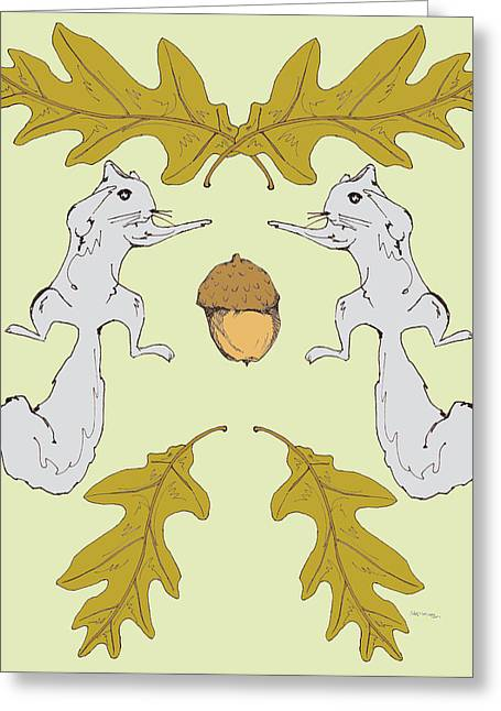 Squirrel Drawings Greeting Cards - Squirrel Fight Greeting Card by Marcia Wood
