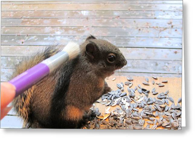 Redish Greeting Cards - Squirrel Gets A Massage Greeting Card by Kym Backland