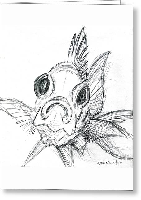 Reef Fish Drawings Greeting Cards - Squirrelfish Drawing Greeting Card by Deborah Willard