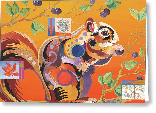 Squirrelling Away Greeting Card by Bob Coonts