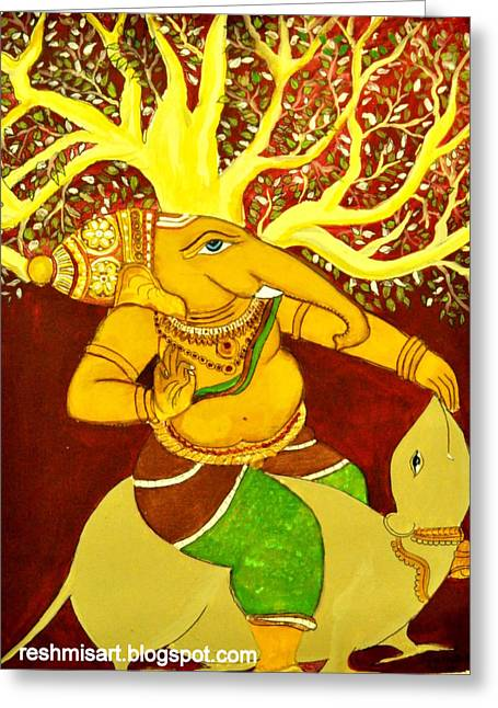 Kerala Murals Greeting Cards - Sri Ganesha mural Greeting Card by Subha devi Gopinath