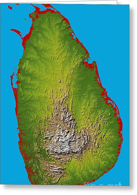 Relief Map Greeting Cards - Sri Lanka Greeting Card by Stocktrek Images
