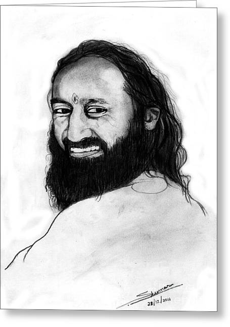 Sri Sri Ravishankar Guruji Greeting Card by Shashi Kumar
