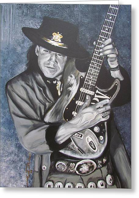 Celebrity Portrait Greeting Cards - SRV - Stevie Ray Vaughan  Greeting Card by Eric Dee
