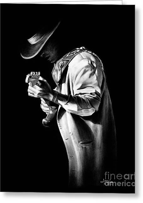 Player Drawings Greeting Cards - SRV Couldnt Stand the Weather Greeting Card by Jerry Lee