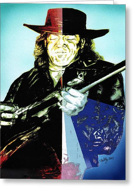 Guitar Player Mixed Media Greeting Cards - Srv Greeting Card by Kathleen Kelly Thompson