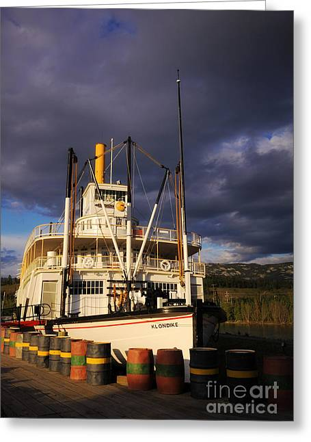 Klondike Gold Rush Greeting Cards - S.S. Klondike under Midnight Sun Greeting Card by Charline Xia