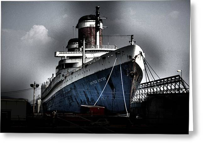 Steam Ship Greeting Cards - SS United States Greeting Card by Wayne Higgs