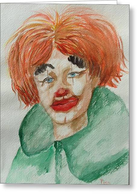 Ssend In The Clown Greeting Card by Betty Pimm