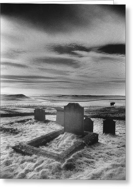 Grave Stone Greeting Cards - St Aidans churchyard Greeting Card by Simon Marsden