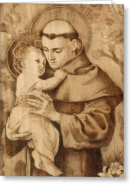 Christ Pyrography Greeting Cards - St. Anthony Greeting Card by Conrad  Pinto