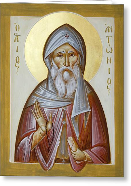 Orthodox Paintings Greeting Cards - St Anthony the Great Greeting Card by Julia Bridget Hayes