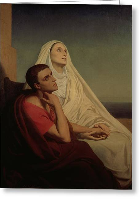 Mom Paintings Greeting Cards - St Augustine and his mother St Monica Greeting Card by Ary Scheffer