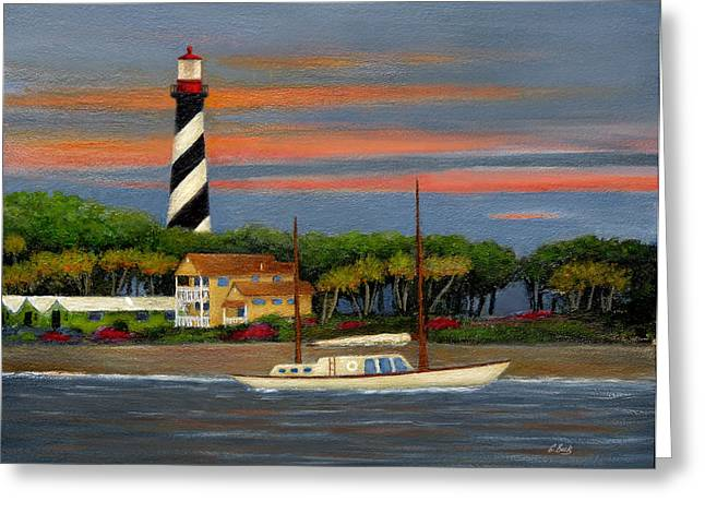 Sailboat Art Greeting Cards - St. Augustine Light Greeting Card by Gordon Beck