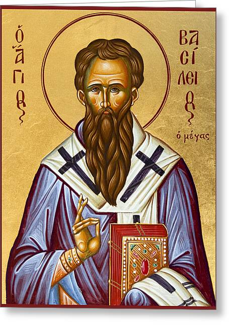 Icon Byzantine Paintings Greeting Cards - St Basil the Great Greeting Card by Julia Bridget Hayes