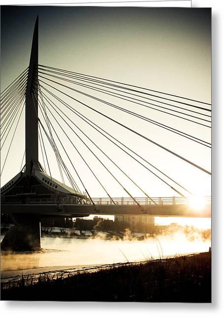 Winter Photos Greeting Cards - St. Boniface Bridge at Winter Sunrise Greeting Card by Michael Knight