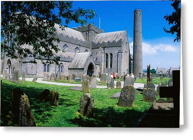 Headstones Greeting Cards - St Canices Cathedral &, Round Tower Greeting Card by The Irish Image Collection