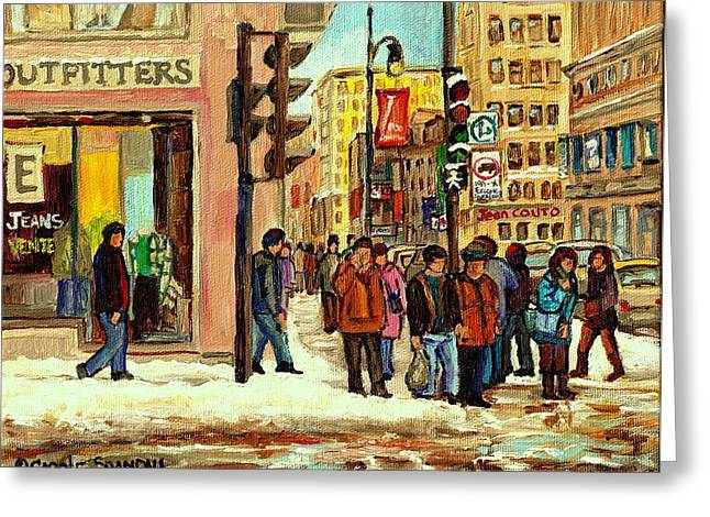 St.catherine Street Greeting Cards - St Catherine And Peel  Downtown Montreal Greeting Card by Carole Spandau