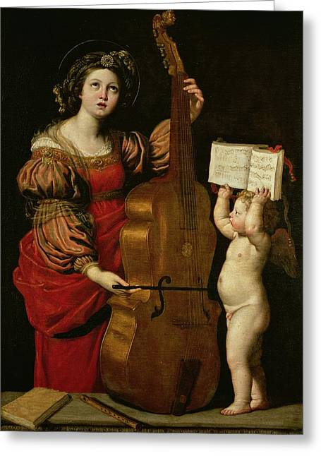 Virgin Greeting Cards - St. Cecilia with an angel holding a musical score Greeting Card by Domenichino