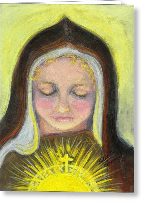 St. Clare Of Assisi All Aglow Greeting Card by Susan  Clark