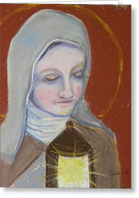 Catholic Art Greeting Cards - St. Clare of Assisi II Greeting Card by Susan  Clark